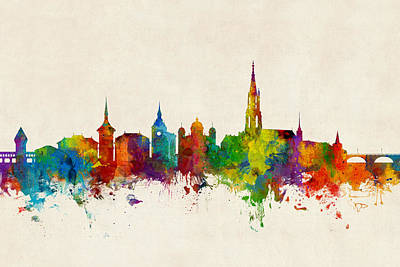 Swiss Digital Art - Bern Switzerland Skyline by Michael Tompsett