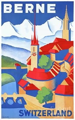 Switzerland Mixed Media - Bern Switzerland Vintage Travel Poster Restored by Carsten Reisinger