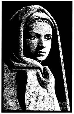 Painting - Bernadette Drawing Of Vilon's Statue Of St. Bernadette In Lourdes - Dpvsb by Dan Paulos