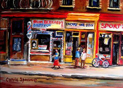 Montreal Buildings Painting - Bernard Barbershop by Carole Spandau
