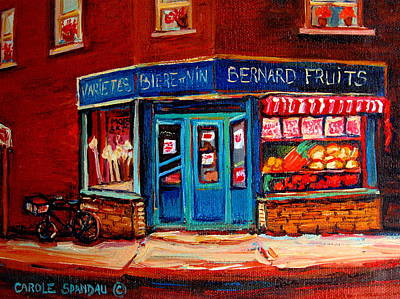 Montreal Storefronts Painting - Bernard Fruit And Broomstore by Carole Spandau
