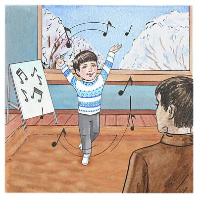 Painting - Bernard Goes To Music School Happy Song by Irina Sztukowski