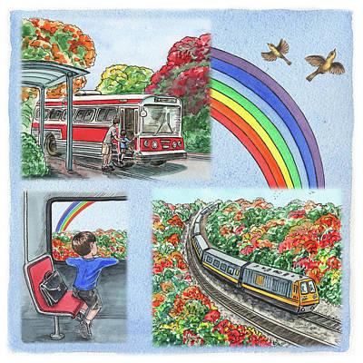 Watercolour Painting - Bernard Goes To Music School Train And Bus by Irina Sztukowski