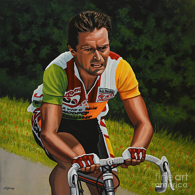 Action Portrait Painting - Bernard Hinault by Paul Meijering