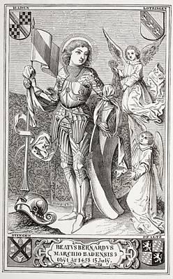 Bid Drawing - Bernard II De Bade, Born 1428 Or 1429 by Vintage Design Pics