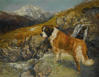Dog In Landscape Painting - Bernard In A Mountainous Landscape by MotionAge Designs