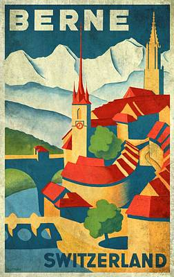 Mixed Media - Berne Switzerland - Vintagelized by Vintage Advertising Posters