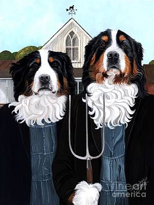 Painting - Berner Gothic - Bernese Mountain Dog by Liane Weyers