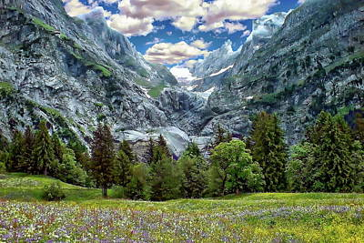 Watercolor Typographic Countries - Bernese Alps Landscape by Anthony Dezenzio
