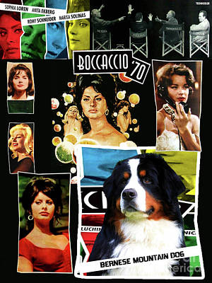 Painting - Bernese Mountain Dog Art Canvas Print - Boccaccio '70 Movie Poster by Sandra Sij