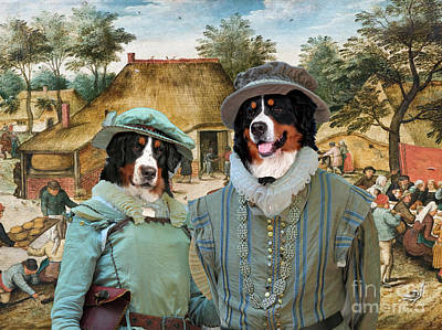 Painting -  Bernese Mountain Dog Art Canvas Print - Peasant Wedding by Sandra Sij