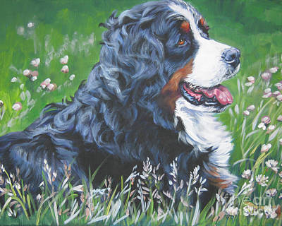 Clover Painting - Bernese Mountain Dog In Wildflowers by Lee Ann Shepard