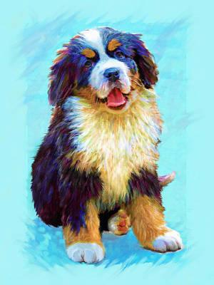 Puppy Digital Art - Bernese Mountain Dog by Jane Schnetlage