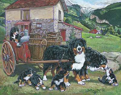 Painting - Bernese Mountain Dog by Nadi Spencer