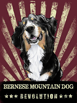 Mountain Drawings - Bernese Mountain Dog Revolution by John LaFree