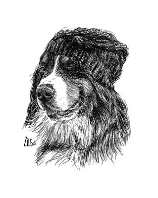 Digital Art - Bernese Mountain Dog @simonabernese by ZileArt