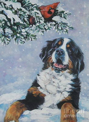 Painting - Bernese Mountain Dog With Cardinal by Lee Ann Shepard