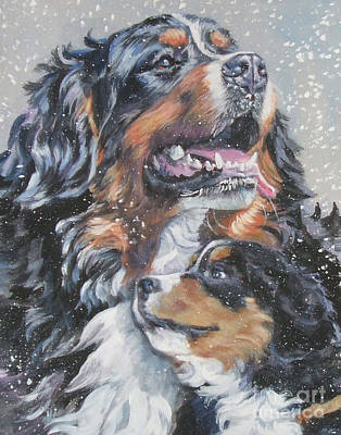 Bernese Mountain Dog With Pup Art Print by Lee Ann Shepard
