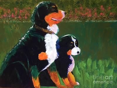 Painting - Bernese Mountain Dog Witth Puppy by Donald J Ryker III