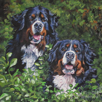 Painting - Bernese Mountain Dogs by Lee Ann Shepard