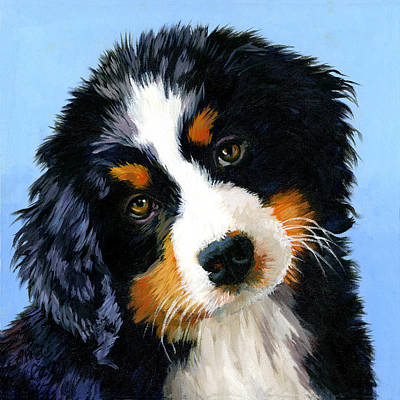 Painting - Bernese Mountain Puppy by Alice Leggett