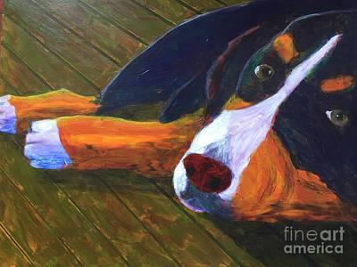 Art Print featuring the painting Bernese Mtn Dog On The Deck by Donald J Ryker III