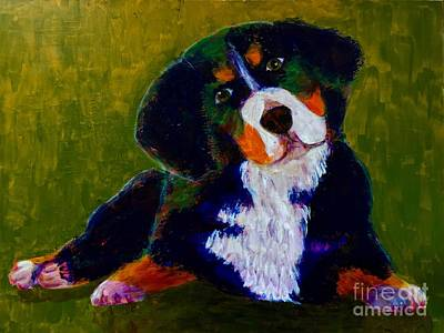 Art Print featuring the painting Bernese Mtn Dog Puppy by Donald J Ryker III