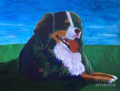 Art Print featuring the painting Bernese Mtn Dog Resting On The Grass by Donald J Ryker III
