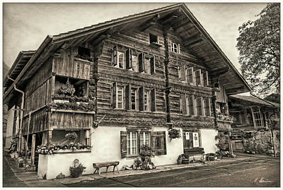 Photograph - Bernese Wooden House Vintage by Hanny Heim