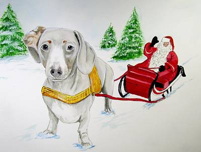 Dachshund Painting - Bernie Reindeer by Carol Blackhurst