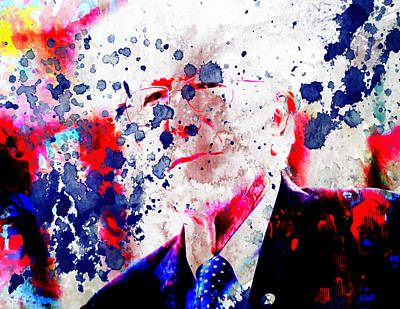 Bernie Sanders Paint Splatter Art Print by Brian Reaves