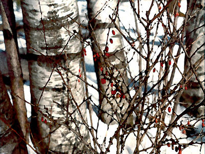 Painting - Berries And Birches by Paul Sachtleben