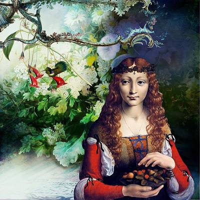 Vintage Digital Art - Berries And Birds by Laura Botsford