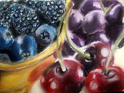Blue Grapes Drawing - Berries Cherries And Grapes by Maria Mills