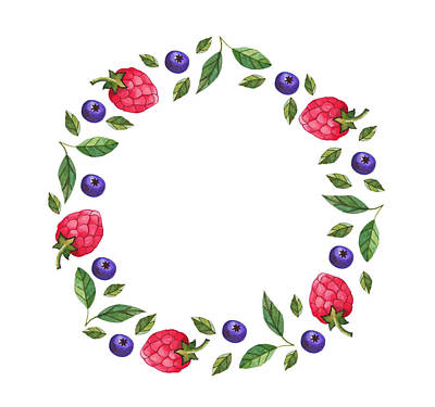 Berries Wreath Art Print by Anastasia Stepanova