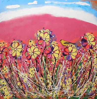 Painting - Berry Pink Flower Garden by Gh FiLben