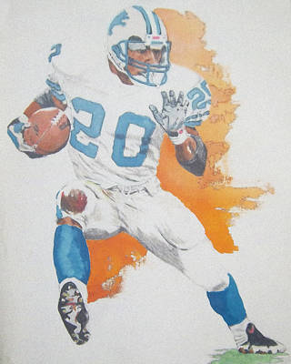 Detroit Lions Drawing - Berry Sanders by Rich Kelly