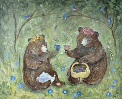 Teapot Painting - Berry Time With Bears by Katherine Lewis