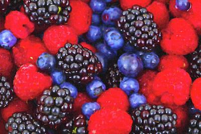 Blueberry Mixed Media - Berry World by Lyriel Lyra