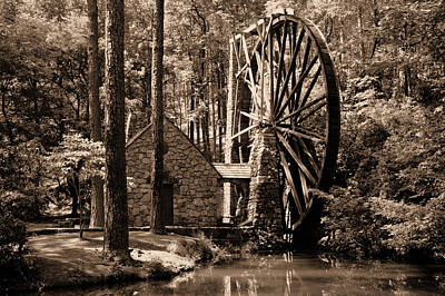 Berry's Old Mill In Sepia Art Print by Johann Todesengel