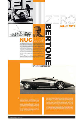 Sports Cars Photograph - Bertone Poster by Naxart Studio