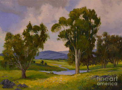 Eucalyptus Painting - Beside Still Waters California Eucalyptus Landscape Painting by Karen Winters