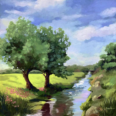 Painting - Beside The Creek - Original Rural Landscape  by Linda Apple