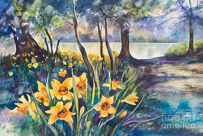 Daffodils Painting - Beside The Lake Beneath The Trees. by Kate Bedell