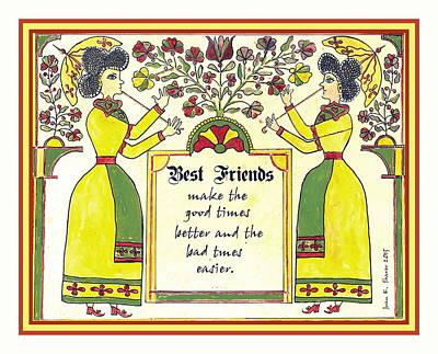 Fraktur Painting - Besrt Friends Fraktur by Joan Shaver