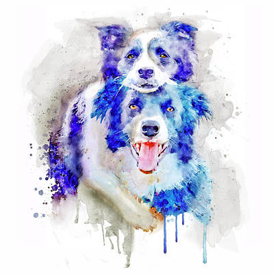 Watercolor Pet Portraits Wall Art - Painting - Best Buddies by Marian Voicu