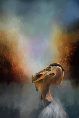 Photograph - Best Catch Blue Heron Art by Jai Johnson