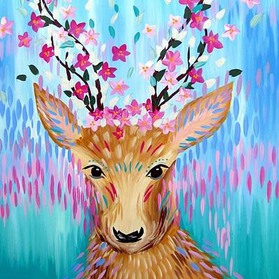Cherry Blossoms Painting - Best Deer by Cathy Jacobs