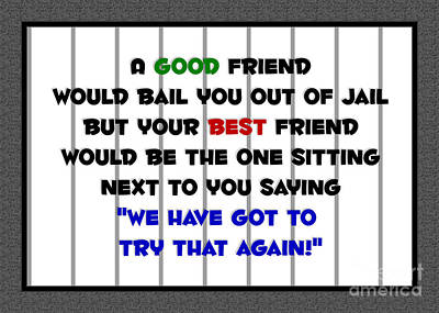 Digital Art - Best Friend Jail Stripes by JH Designs