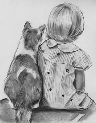 Drawing - Best Friends by Barb Baker